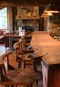 "sunflowersandsearchinghearts: "" rustic natural wood bar counter via pinterest """