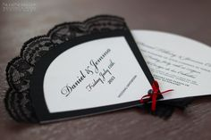 All Flamenco-styled Wedding Stationery Suite, consisting of Fan-shaped Invitations, Menus, Fan-shaped Programs, Table Plan & Numbers and various accessories.