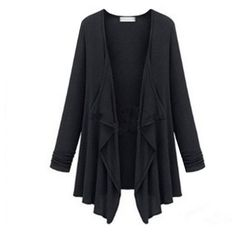 New Fashion Women Casual Knitted Sweater Long Sleeve Coat Jacket Outwear Solid Loose Lady Tops Gray Black