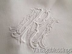 PAIR French Linen Monogram RM Pillow Shams c1900 Chateau Estate www.Vintageblessings.com