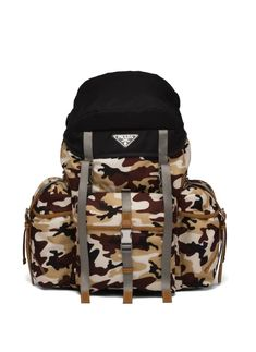 Prada, Triangle Logo, Fasion, Camouflage, Leather Backpack, Backpacks, Zipper, Shoulder Straps, Stuff To Buy