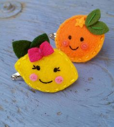 Citrus-Friends Wool felt snap hair clip set by berry cool designs, $ 11.00