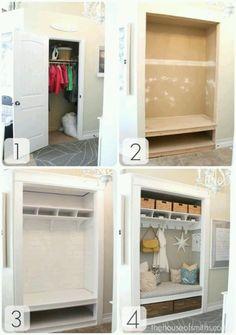 Entryway Closet Makeover - The Reveal! Project: Entryway Closet Makeover - The Reveal!Project: Entryway Closet Makeover - The Reveal! Front Closet, Closet Mudroom, Closet Bench, Closet Nook, Closet Space, Sliding Door Closet, Closet Paint, Pipe Closet, Playroom Closet