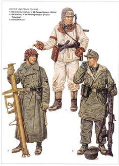 """Winter Uniform, 1943-45 - 1 SS Untersturmfuherer 5a Waffen SS Panzerdivision """"Wiking"""" - 2 SS Shuetze 3a Waffen SS Panzerdivison """"Totenkopf"""" - 3 SS Sturmmann"""