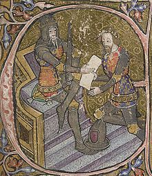 """Edward, the Black Prince is granted Aquitaine by his father King Edward III. Initial letter """"E"""" of miniature, 1390; British Library, shelfma..."""