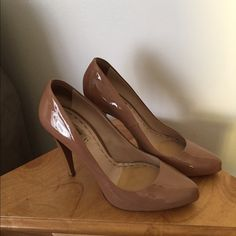 Miu Miu Nude Heels size 40 Gorgeous! Perfect basic to wear with everything. These have been loved with some minor wear that can easily be fixed by a shoe cobbler. Size 40. This item is in good condition but it has been worn please ask any questions before purchasing. This item will only be traded for an autographed Authentic Chanel original, a Lamborghini, a penthouse in Paris, or the services of an Audi mechanic. Offers submitted in comments will be ignored Miu Miu Shoes Heels