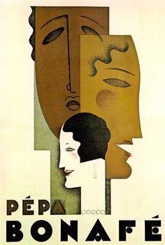 PÉPA BONAFÉ French poster design by Jean Carlu . Pépa Bonafé is an actress, known for Capriccio fatale (1916), Anime gemelle (1918) and La revue des revues (1927) from Art Deco Posters & Graphics by Jean Dellhaye (1977) (please follow minkshmink on pinterest) #twenties #flapper