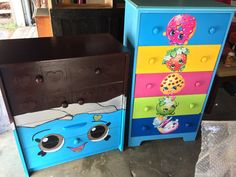 SHOPKINS kid's dressers.  Cheeky Chocolate 4 drawer dresser.  5 drawer Shopkins painted dresser with popular characters.