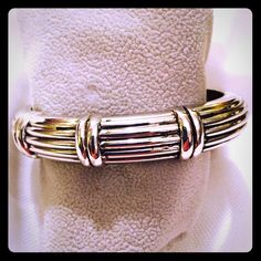 "Hinged design bracelet Gold and silver, David Yurman inspired, hinged bangle. Beautiful design!  2.75"" diameter Jewelry Bracelets"