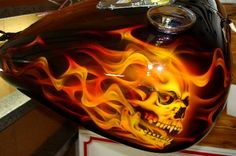 motorcycles with skulls and flames | Realistic Flames With Skulls On Harley Night Train