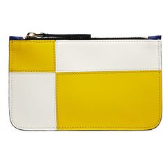 Marni Leather Zipped Purse ($84) ❤ liked on Polyvore featuring bags, wallets, blue, yellow leather bag, marni, yellow wallet, leather wallet and zip wallet