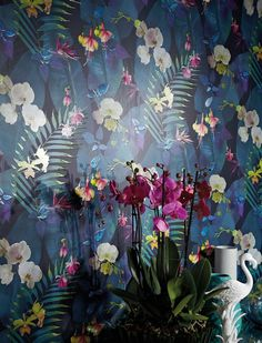 £28.61 Price per roll (per m2 £5.37), Floral wallpaper, Carrier material: Paper-based wallpaper, Surface: Tactile relief effect, Look: Matt, Design: Leaves, Blossoms, Basic colour: Black blue, Pattern colour: Shades of blue, Yellow green, Light violet, Turquoise, White, Characteristics: Lightfast, Wet removable, Paste the wallpaper, Water-resistant