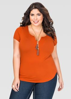 Notched Scoop Neck Tee - Ashley Stewart