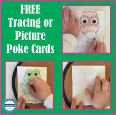 Tracing or Picture Poke Animals - Your Therapy Source Motor Activities, Infant Activities, Classroom Activities, Work Activities, Preschool Writing, Free Preschool, Kindergarten Art, Pediatric Occupational Therapy, Pediatric Ot