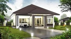 3 Concepts of Bungalow House - House And Decors Single Floor House Design, Modern House Floor Plans, Sims House Plans, 3 Storey House Design, Sims House Design, Bungalow Haus Design, Modern Bungalow House, Three Bedroom House Plan, Family House Plans