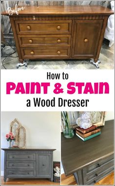 See how to paint a dresser for a classic and timeless look. This gray painted dresser tutorial is created with texture, paint and stain. DIY painted dresser makeover using wood stain, chalk paint and Saltwash texture additive. Cheap Furniture Makeover, Diy Furniture Renovation, Diy Dresser Makeover, Diy Furniture Projects, Dresser Makeovers, Furniture Refinishing, Dresser Ideas, Furniture Design, Stain Furniture