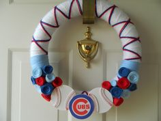 Chicago Cubs Fan Yarn Wreath handmade by Welcomes to Adore. Check us out on Facebook: www.facebook.com/welcomestoadore