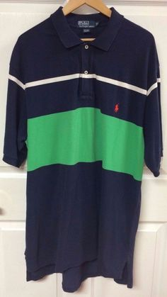 Polo Ralph Lauren Navy & Green Striped Polo Shirt Short Sleeve XLT X-Large TALL #PolobyRalphLauren #Polo