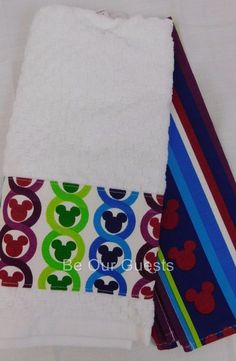 Disney Parks Color Fusion Mickey Icon Kitchen Dish Towel Set Of 2 New