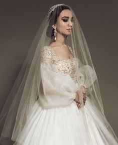Beautiful long puffy sleeve wedding gown with veil. Western Wedding Dresses, Dream Wedding Dresses, Bridal Dresses, Vestidos Vintage, Vintage Dresses, Wedding Looks, Wedding Bride, Ellie Saab Wedding, Cake Wedding
