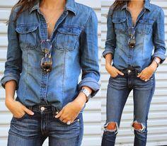 Blue Retro Fashion Women Casual Jean Denim Long Sleeve Shirt Tops Blouse Jacket #Unbranded #Blouse #Casual