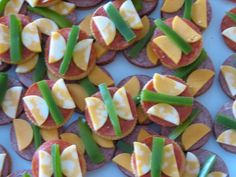 butterfly snack ritz cheese pepperoni and green pepper Image