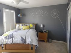 Yellow and gray bedroom.  Love