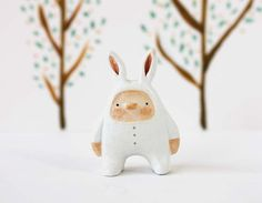 Animal figurine - Bunny boy - Paper clay miniature - Woodland art toy - made to order