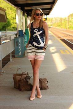 Blair Eadie in sparkly anchor shirt #nauticallove