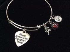Father Daughter Forever Love Little Lady Bug Expandable Charm Bracelet Silver Adjustable Bangle Gift