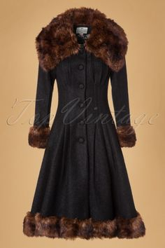 Collectif Clothing Pearl Coat in Black 18926 20160602 modelcw