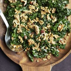 Kale with Pancetta, Cream and Toasted Rosemary Walnuts recipe on Food52