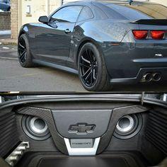 car stereo custom install face angry trunk Subs R Us fiberglass eyes carbon fiber camaro