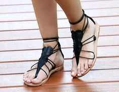 A Greek Inspired handmade all leather sandal with leather laces to tie around your ankle