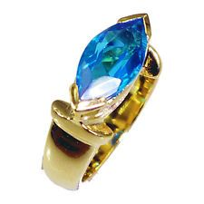 Blue Topaz CZ Copper Ring L-1in flashy Blue wholesales AU KMOQ
