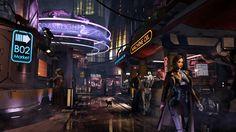 Alien Colony Street Level Design, Rui Cheung on ArtStation at https://www.artstation.com/artwork/EKZGA
