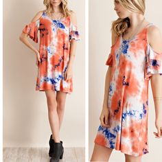ARRIVAL! Coral cold shoulder tie dye dress A fun casual dress, featuring a tie dye print and cold shoulders. Short sleeves. Looks amazing with flatforms and sunnies. Non sheer, unlined and light weight. Very comfy and soft material. Available in small, medium and large. Comment your size and I can make you a listing. ❗️NO TRADES❗️ Pink Peplum Boutique Dresses