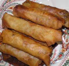 Lumpia! serve with sweet and sour or sweet chili sauce! Brings back childhood memories!