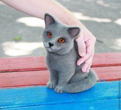 Британская кошка - серый,Валяние,валяная игрушка,Сухое валяние,интерьерная игрушка