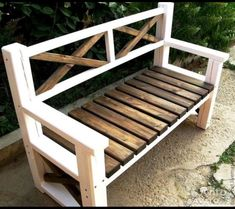 Large Porch Bench with X Backs Pallet Furniture Bench, Rustic Outdoor Furniture, Diy Wood Bench, Bench Decor, Farmhouse Furniture, Outdoor Benches, Patio Bench, Outdoor Pallet, Antique Furniture