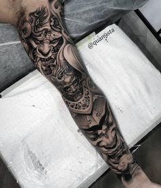 "6,462 curtidas, 24 comentários - Asian Inkspiration ★ (@asian_inkspiration) no Instagram: ""Hannya x Hannya By 💥 @quan9sta 💥"" Asian Tattoo Sleeve, Samurai Tattoo Sleeve, Japanese Sleeve Tattoos, Full Sleeve Tattoos, Tattoo Sleeve Designs, Leg Tattoos, Black Tattoos, Body Art Tattoos, Tattoos For Guys"
