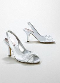 aa4668c1103 This dyeable satin peep toe slingback is equipped with of memory foam