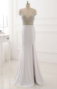 Real Picture Evening Party Gowns Long Sexy High Slit Chiffon Crystal Beads V-Neck White Mermaid Prom Dresses 2017