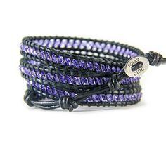 WRAP CHIC wrap bracelet feita em couro legítimo com pedras preciosas, semi-preciosas e cristais SWAROVSKI. (Finest leather with precious and semi-precious stones)