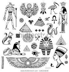 Vector tribal ethnic set of Egyptian symbols.You can find Egyptian symbols and more on our website.Vector tribal ethnic set of Egyptian symbols. Egyptian Symbol Tattoo, Egyptian Cat Tattoos, Egyptian Drawings, Egyptian Cats, Egyptian Symbols, Ancient Egyptian Art, Tribal Symbols, Anubis Tattoo, Tattoo Old School