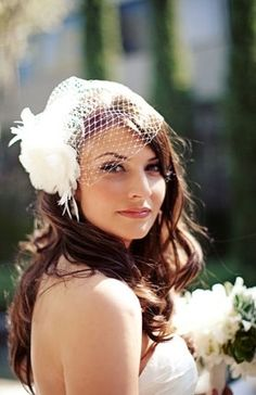 Birdcage veil with hair down