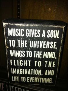 """Music gives a soul to the universe, wings to the mind, flight to the imagination, and live to everything."""