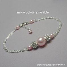 Light Pink Pearl Bridesmaid Bracelet, Personalized Bridesmaid Bracelet, Wedding Bracelet, Bridesmaid Gift Maid of Honor Gift Bridal Bracelet by TheBelleBrides on Etsy https://www.etsy.com/listing/273261618/light-pink-pearl-bridesmaid-bracelet