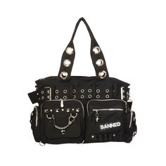 Black Shoulder Bag with Handcuffs Studs ($43) ❤ liked on Polyvore featuring bags, handbags, shoulder bags, shoulder hand bags, studded handbags, grommet handbags, studded shoulder bag and studded purse