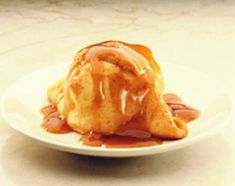 Weight Watchers Apple Dumplingsg 1 package crescent roll dough - (8 count) 2 packets Sugar Substitute 3 teaspoons cinnamon 2 small tart apples -- peeled, sliced 1/2 cup water I Can't Believe It's Not Butter Spray bake 350° 30min